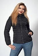 Женская черная куртка осень-весна приталенного кроя с капюшоном большие размеры 50, 52