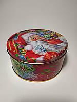 Новогодняя коробка  с крышкой из жести 19х8 см, Санта, Новогодняя упаковка, Днепр