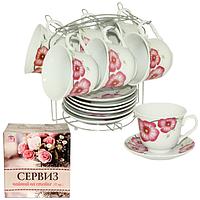 Чайный сервиз на стойке, 12 предметов (фарфор)