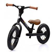 Балансирующий велосипед (велобег) steel 2 в 1, цвет черный, Trybike, фото 1