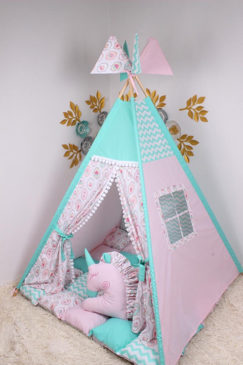 Детская палатка-вигвам с ковриком 125х125х170 см