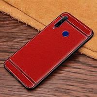 Чехол Litchi для Honor 10i силикон бампер с рифленой текстурой красный