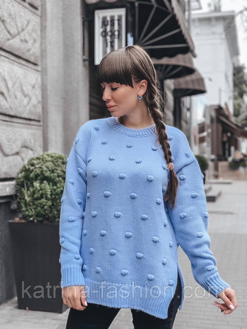 Женский вязаный свитер свободного кроя с разрезами внизу (в расцветках)