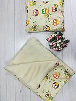 """Детское одеяло+подушка """"Совы""""(на овчине)"""