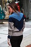 Женский вязаный теплый свитер трехцветный под горло (в расцветках), фото 2