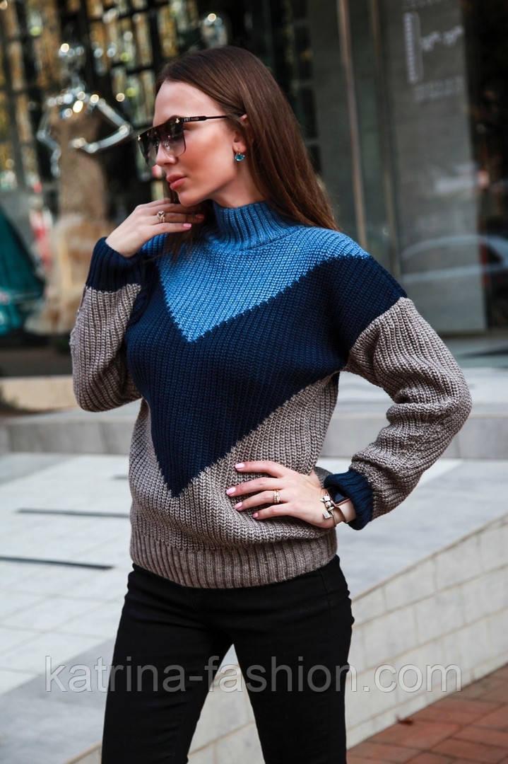 Женский вязаный теплый свитер трехцветный под горло (в расцветках)