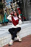 Женский вязаный теплый свитер трехцветный под горло (в расцветках), фото 7