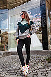 Женский вязаный теплый свитер трехцветный под горло (в расцветках), фото 6