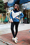 Женский вязаный теплый свитер трехцветный под горло (в расцветках), фото 5