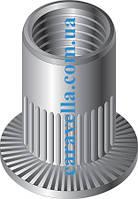 Клепальная гайка рифленная круглая с увеличенным цилиндрическим буртиком