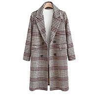 Пальто женское стильное осеннее классическое серое в клетку опт., фото 1