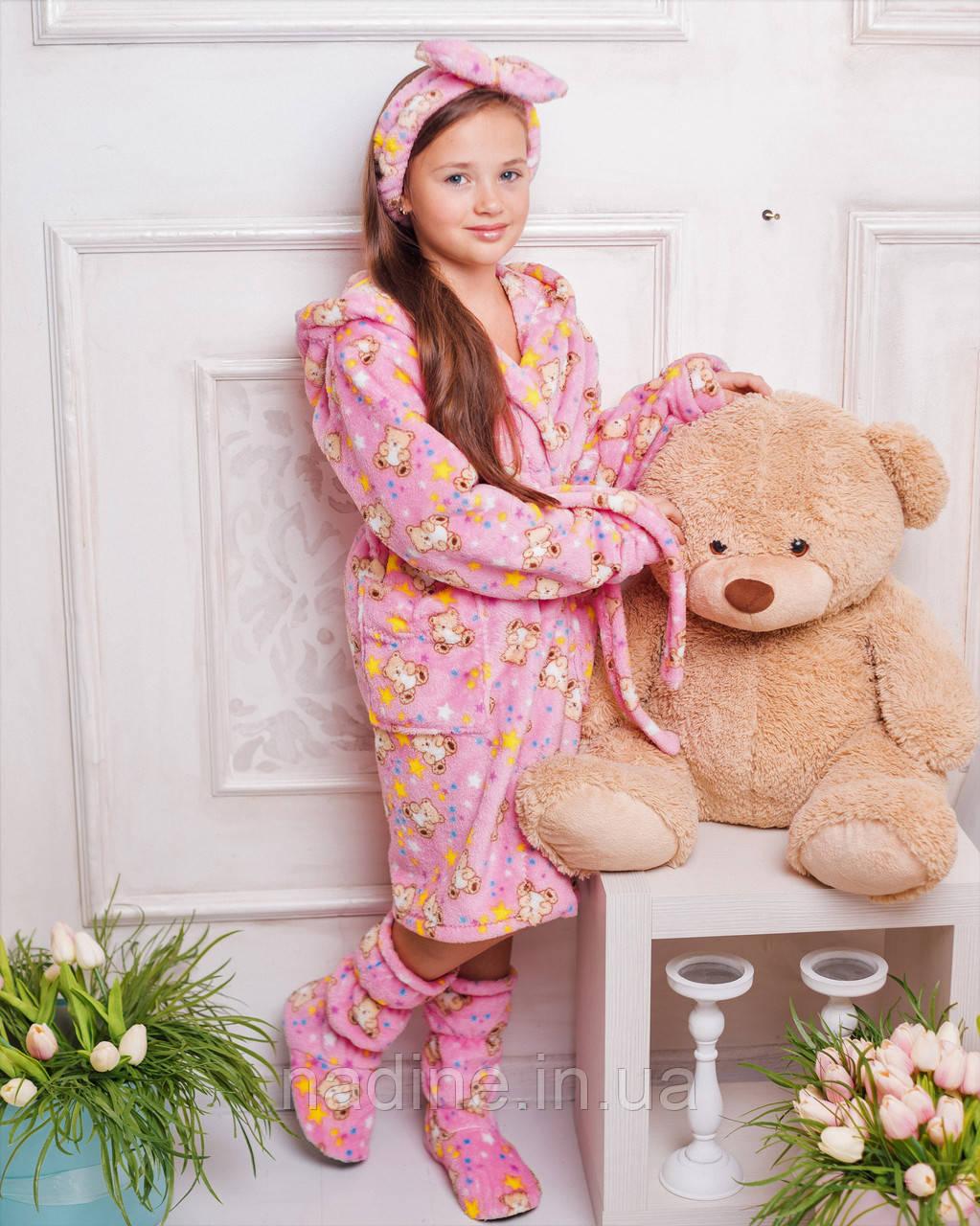 Комплект халат і чобітки Eirena Nadine (625-34) на ріст 134 Рожевий