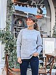 Женский вязаный теплый свитер свободного кроя (в расцветках), фото 9