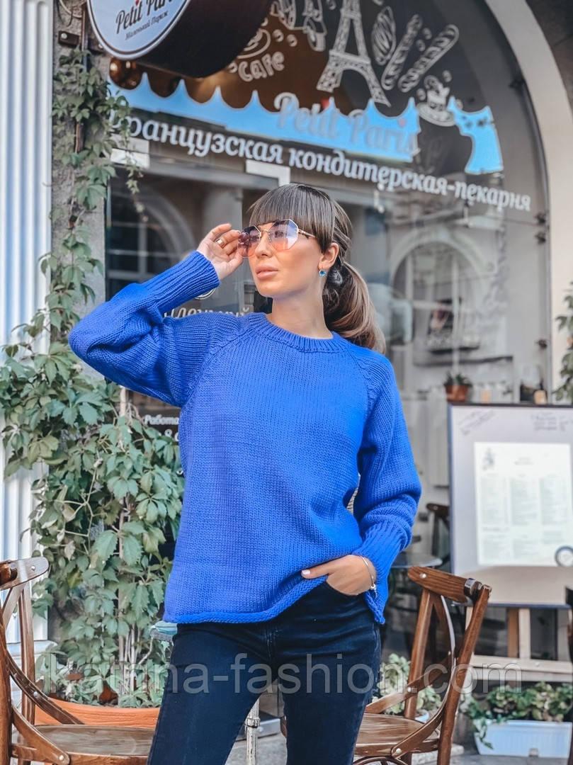 Женский вязаный теплый свитер свободного кроя (в расцветках)
