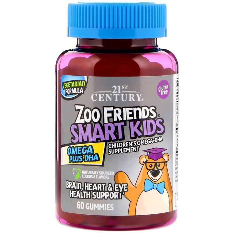 "Рыбий жир для детей 21st Century ""Zoo Friends Smart Kids Omega Plus DHA"" (60 желейных конфет)"