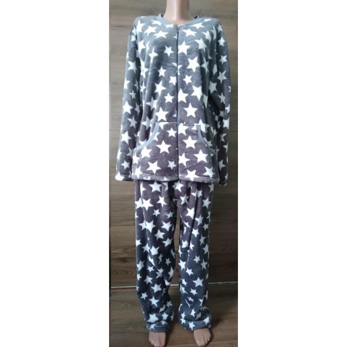 Махровая темно-серая пижама на молнии с принтом звезды 54-58 р