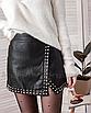 Кожаная юбка с заклёпками на запах черная мини, фото 3