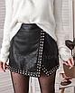 Кожаная юбка с заклёпками на запах черная мини, фото 5