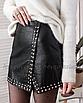 Кожаная юбка с заклёпками на запах черная мини, фото 7