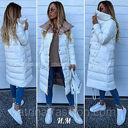 Женская теплая зимняя куртка-пальто с высоким воротником (в расцветках)