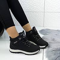 Женские зимние ботинки в черном цвете, эко кожа