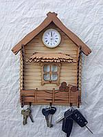 Ключниця вішалка-хатинка з годинником