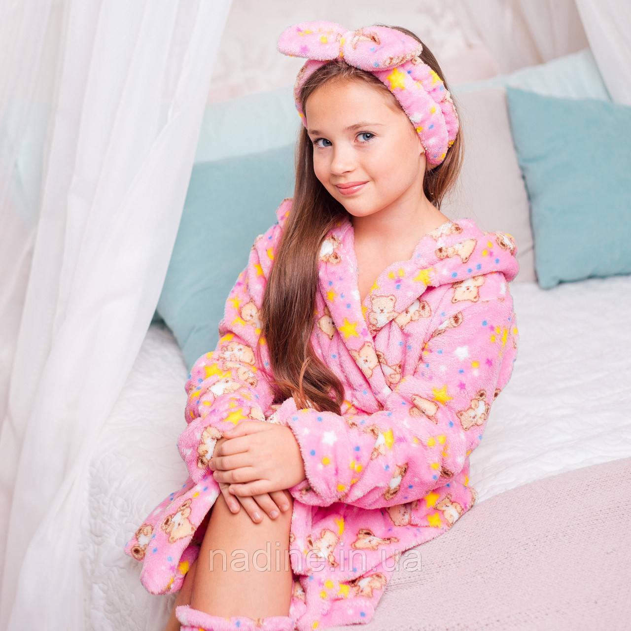 Детский халатик Мишутка Eirena Nadine (22-625) на рост 122 Розовый