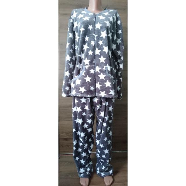картинка махровая пижама на молнии серого цвета со звездами 54-58 р
