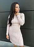 Женское вязаное платье коса с плиссированной юбкой (в расцветках), фото 2