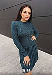 Женское вязаное платье коса с плиссированной юбкой (в расцветках), фото 3