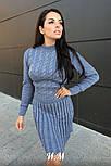 Женское вязаное платье коса с плиссированной юбкой (в расцветках), фото 4