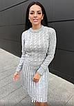 Женское вязаное платье коса с плиссированной юбкой (в расцветках), фото 6