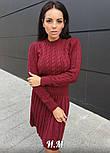 Женское вязаное платье коса с плиссированной юбкой (в расцветках), фото 7