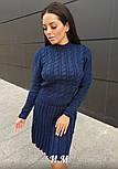 Женское вязаное платье коса с плиссированной юбкой (в расцветках), фото 8