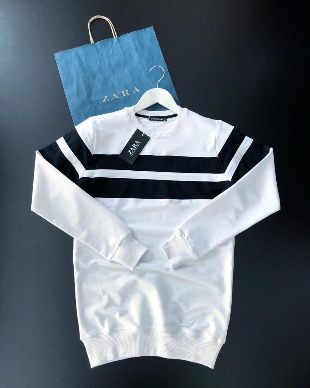 Мужской свитшот Zara white/black (реплика)