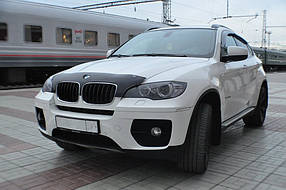 Дефлектор капота (мухобойка) BMW X5/Х6, (E70) 2007-, короткий, темный