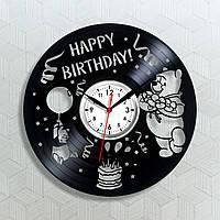 Winnie Pooh с Днем Рождения часы Винни Пух часы с винила Материал часов винил Часы в детскую комнату 300 мм
