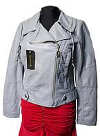 Женская куртка демисезонная. Серая. Эко-кожа.