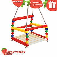 Детская качеля 0045 Технок дерево+пластик | качелька для ребенка | деревянная подвесная качеля