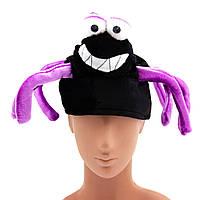 """Карнавальная шляпа """"Веселый паук"""", 36*36*17 см см, вельвет и полиэстер, черно-фиолетовый."""