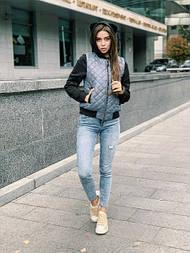 """Женская куртка стеганая с рукавами и капюшоном из трехнитки на флисе с ушками """"Микки"""" (в расцветках)"""