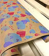 """Крафт бумага подарочная """"LOVE YOU"""", 0.7 х 2 метра. 70 грамм/м². LOVE & home"""