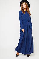 Женское длинное темно-синее платье в горошек, фото 1