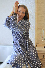 Халаты плюшевые с капюшоном до колена, размеры M L XL