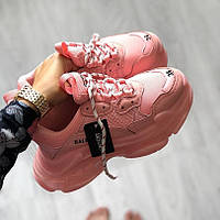 Женские кроссовки Balenciaga Triple S Clear Sole Rose Pink (люкс копия)