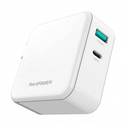 З/у сетевое RAVPower 45W AC + PD + QC3.0 2-Port Wall Charger (RP-PC081WH) EAN/UPC: 6970651386584, фото 2