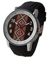 Часы мужские с символикой Украины, вишиванка, серебристые