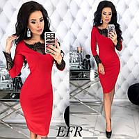 Приталені плаття з мереживом ЕФ/-446 - Червоний, фото 1
