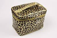 Косметичка чемодан золотистый леопард