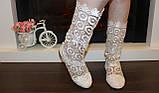 Сапоги летние женские белые гипюровые Б512, фото 7